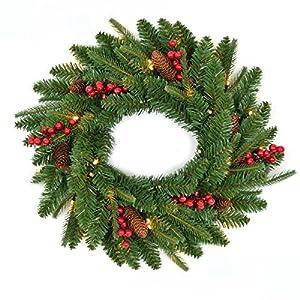 Gifts 4 All Occasions Limited SHATCHI-1222 Shatchi - Guirnalda de Navidad (55 cm), diseño de conos de pino con bayas, color verde