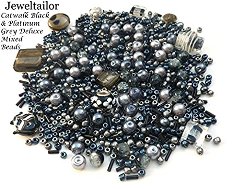 Jeweltailor Catwalk Black & Platinum Grey Deluxe 80 Grams (400+) Glass & Metal Beads Mix Including Rare Lampwork, Pearls, Seed, + Mixed Metal Beads Medley ~ A Perfect Starter Beads Mix For Jewellery Making ~ Limited Editions Collection