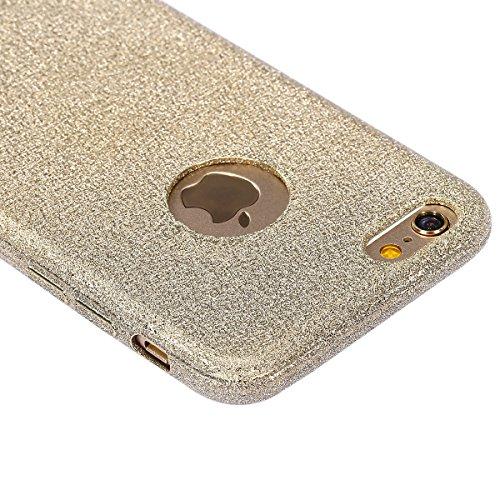 Coque Housse Etui pour iPhone 6 Plus/6S Plus, iPhone 6S Plus Coque en Silicone Clear Etui Housse,iPhone 6 Plus Silicone Coque Transparent Housse Etui Gel Slim Case Soft Gel Cover Skin, Ukayfe Etui de  Glitter dépoli-d'or