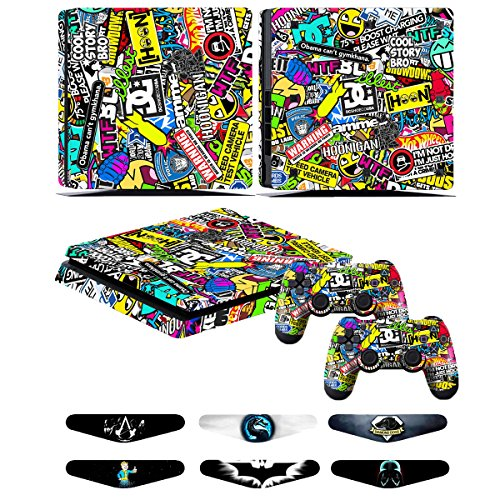 PS4 Slim Skin Stickers - Decal Cover per controller Sony Playstation 4 Slim - Adesivi Vinile per accessori console PS4 e Dualshock 4,Sticker di protezione - Doodle