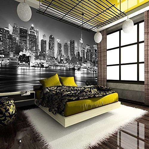 new-york-city-at-night-skyline-view-black-white-wallpaper-mural-photo-giant-wall-poster-decor-art