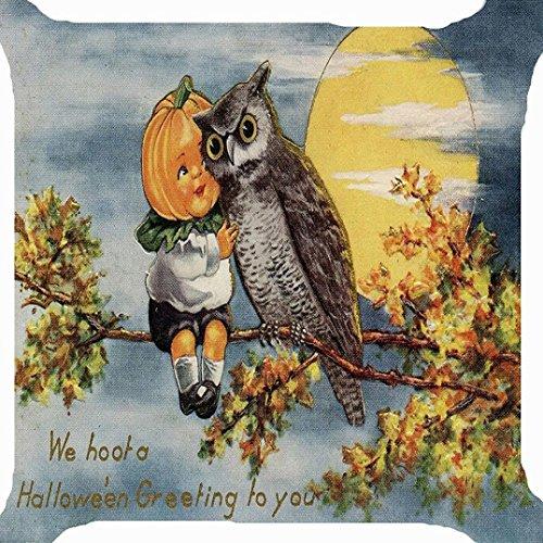Taies doreiller Halloween, Internet canapé lit Home Café Decor Carré housse de coussin Lin Invisible fermeture à glissière 45cm*45cm (H) E