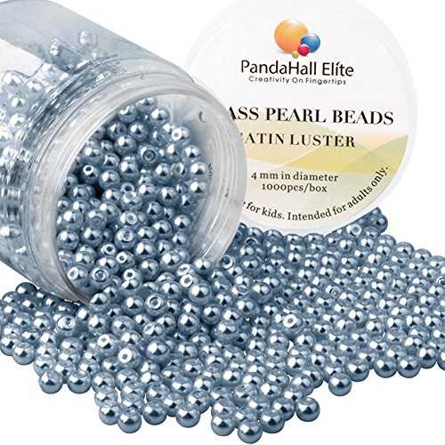 PandaHall Elite 4mm environ 1000Pcs Lustre Satine Perle en verre Rond Beads Perles Assortiment Lot ,Pr creation de bijoux Gris Ardoise