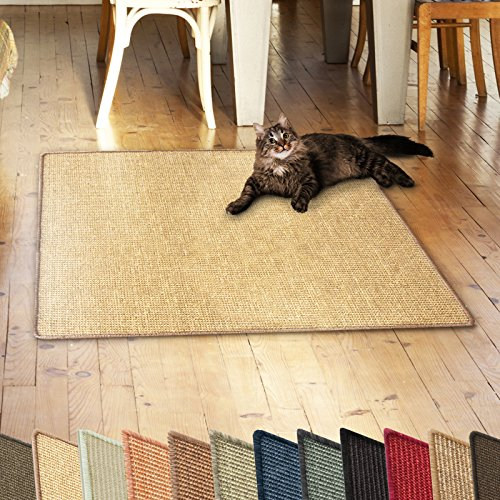 casa pura Sisalteppich Natural Line | ideal als Kratzmatte für Katzen | schadstofffrei & widerstandsfähig | Sisal Kratzteppich in vielen Farben und Größen (Natur, 100x100 cm) - Natürlichen Läufer Teppich