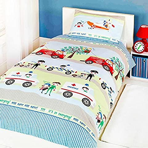 Emergency Vehicle Children's Rotary Single Duvet Quilt and Pillow Case Bedding Set by Generic Duvet Covers