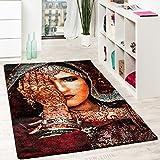 Paco Home Designer Teppich Nomaden Frau mit Henna Hand Tattoo in Multicolor Rot Schwarz, Grösse:80x150 cm