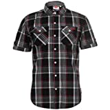 Lee Cooper Mens S/S Checked Shirt - Black/White/Red