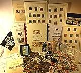 Boemaus500 Briefmarken Set XXL mit 300 Gramm Münzen, mit Lupe, Pinzette und Album