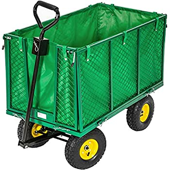 TecTake Trolley Barrow Trailer in Iron Trailer Trasport Wood Garden Wagon 550 kg