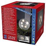 Konstsmide 3770-103 LED Kunststoffball mit Sterneneffekt / für Außen (IP44) /  Batteriebetrieben: 4xAA 1.5V (exkl.) / mit Lichtsensor, 6h und 9h Timer / 10 warm weiße Dioden / transparentes Kabel