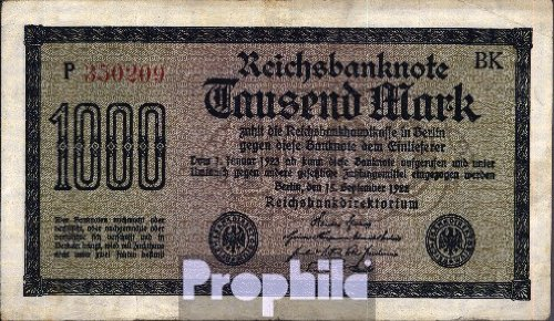Deutsches Reich Rosenbg: 75g, Wasserzeichen Mäander, rote Kontrollnummer gebraucht (III) 1922 1.000 Mark (Banknoten für Sammler)