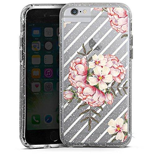 Apple iPhone 8 Bumper Hülle Bumper Case Schutzhülle Blumen Streifen Muster Bumper Case Glitzer silber