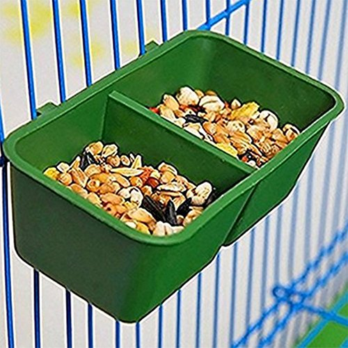 Toruiwa Papageien Napf Vogel Futternapf Wassernapf Hängenapf aus Kunststoff hängbar für Papageien Vügel grün