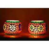 Craftnation Mosaic Glass Tealight Candle Holders(Pack of 2) - Christmas Lights Decoration - Tealight Candle Holders…