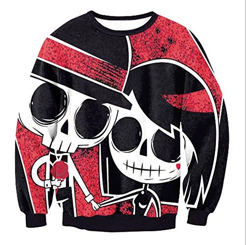 Graffiti Druck Pullover, Totenkopf Pullover mit langen Ärmeln (S, schwarz) (Halloween-drucke)