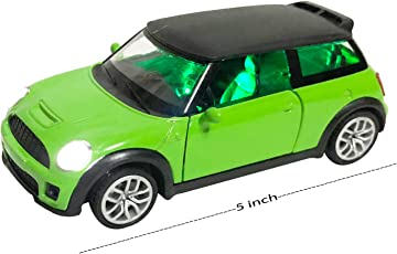 US1984 2018 5'' Die Cast Metal Mini Cooper S Car Look with Openable Doors, Pull Back, Blinking Headlights and Music, Great Gift for Boys and Girls Above 3 Years Old ( Multi Color )