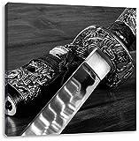 strahlendes Samurai-Schwert Kunst B&W, Format: 60x60 auf Leinwand, XXL riesige Bilder fertig gerahmt mit Keilrahmen, Kunstdruck auf Wandbild mit Rahmen, günstiger als Gemälde oder Ölbild, kein Poster oder Plakat