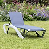 Resol Marina Sun Lounger / Bed - Silver Frame with Blue Jeans Canvas Material - Pack of 2 Loungers