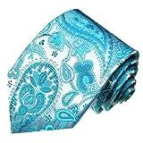 Lorenzo Cana - Premium Design Krawatte aus 100% Seide - Tuerkis Hellblau Paisley - 84403