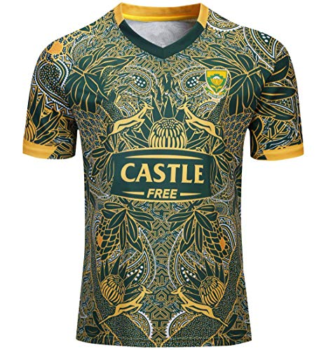 Mempire South Africa Rugby Jersey Camisetas De Rugby para Hombres Ropa Deportiva De Ajuste Regular (Verde, XXXL)