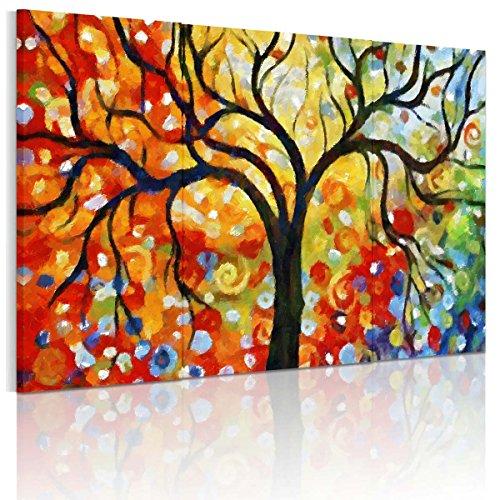RAIN QUEEN bunter wünschender Baum HD Deko Leinwand Kunstdruck Poster Bild Wandbild Oil Painting Hand-Malerei Aquarell (mit Holzrahmen)