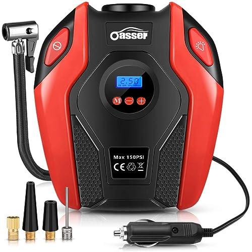 Oasser Compressore Portatile per Auto Aria 12V Mini Pompa Elettrica 150PSI Pressione Gonfiatore Digitale con Luce LED per Moto, Bici, Auto, Palloni