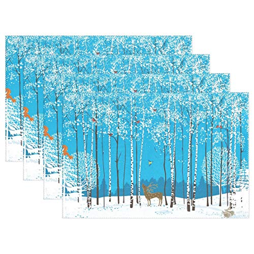 GOODSTHING Tischset, Winter Deer Birch Tree Christmas Placemat Table Mat, Snow Bird 12