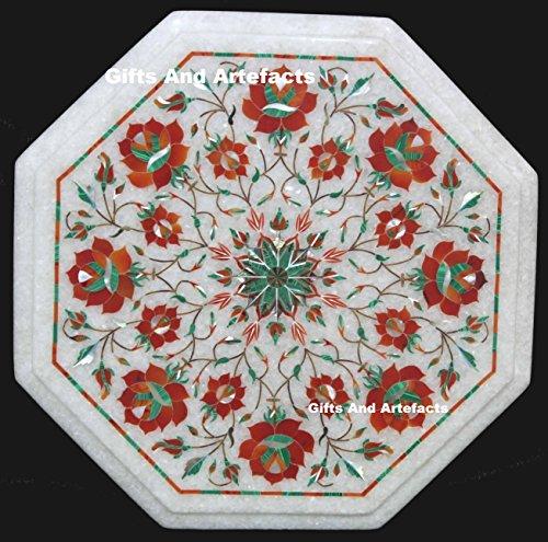 Gifts And Artefacts 38,1cm weiß Marmor Karneol Stein Sofa Tisch Top Einlage rot Flower Design - Marmor Top Sofa Tisch