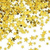 TecUnite Gold Stern Konfetti Metallfolie Stern Tisch Konfetti für Hochzeit Geburtstag Party Dekoration