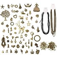 Jeteven 65PCS Retro Schlüssel Anhänger Bronze Silber Vintage Schmuck Basteln Key Kette Halskette Armband antik Deko (65er)