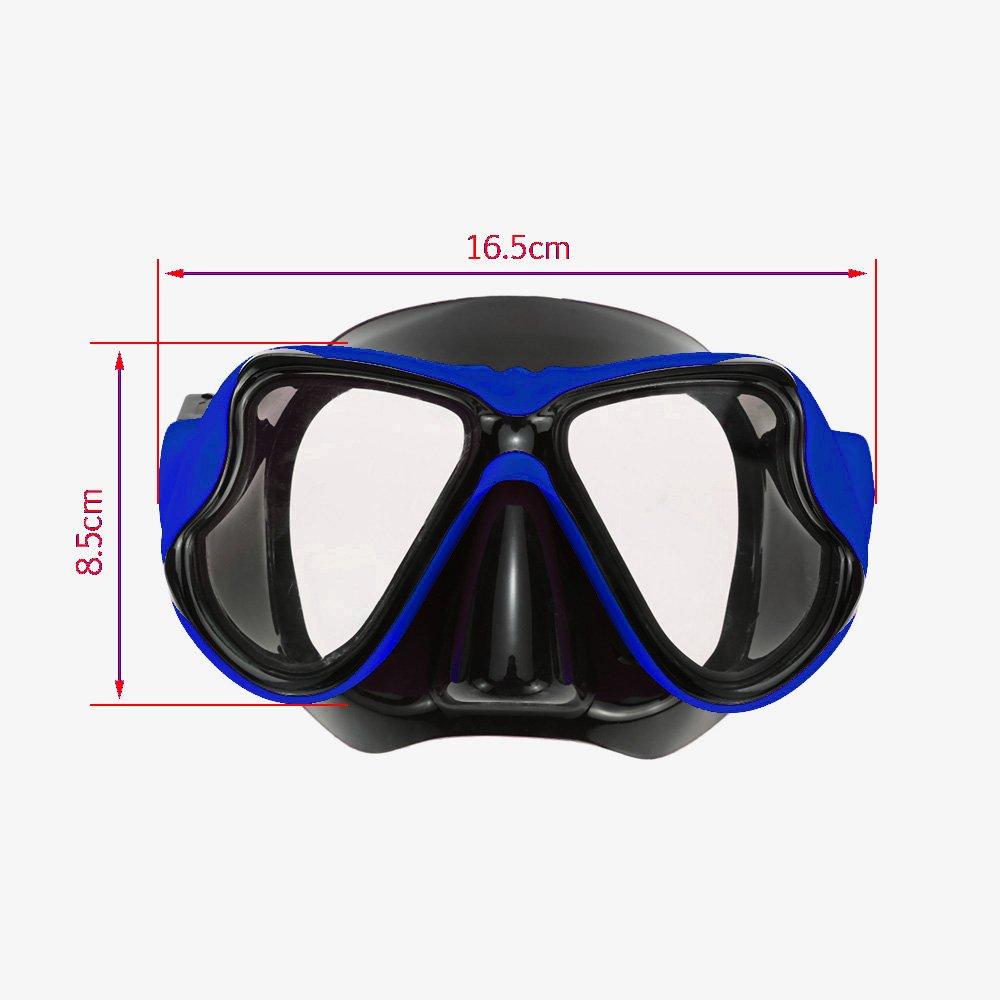 Professionali Attrezzatura Sport Acquatici Anti-Appannamento Nuoto Immersioni e Snorkeling Maschera Subacquea per Adulto Blu Mikphone 1900