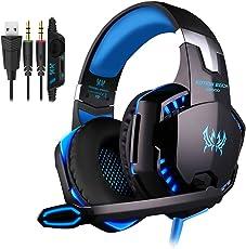 PUNICOK PC Gaming Headset G2000 Kopfhörer mit Mikrofon 3.5mm on Ear Surround Sound Ohrhörer und Lautstärkeregelung für PS4 Xbox One PC Laptop Tablet Mobile Phones Blau