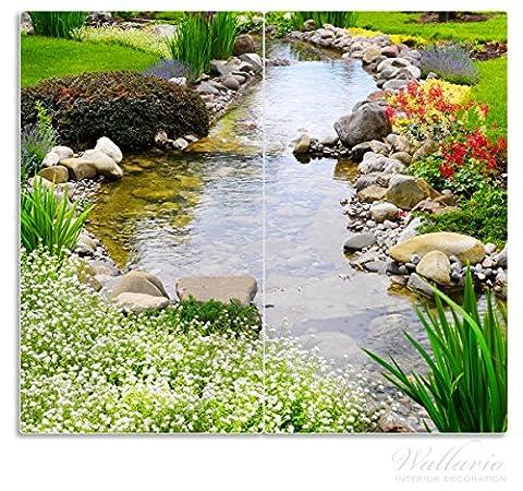 Wallario Herdabdeckplatte / Spritzschutz aus Glas, 2-teilig, 60x52cm, für Ceran- und Induktionsherde, Blumen am Teich