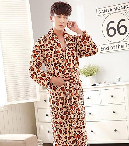 lkklily-couple Nachthemd Flanell Bademantel für Damen und Herren Herbst und Winter Lang, gepolsterter Pyjama, Nachtwäsche und Loungewear, L (Leopard-print-flanell-pyjama)