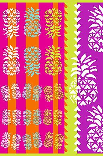 Strandtuch Große Gewebt 100% ägyptischer Baumwolle - freies Verschiffen - Maßnahmen 170x100cm - Verschiedene Farben. Mod.Ananas. (Fuchsia) (& Handtuch Hafen Strand)
