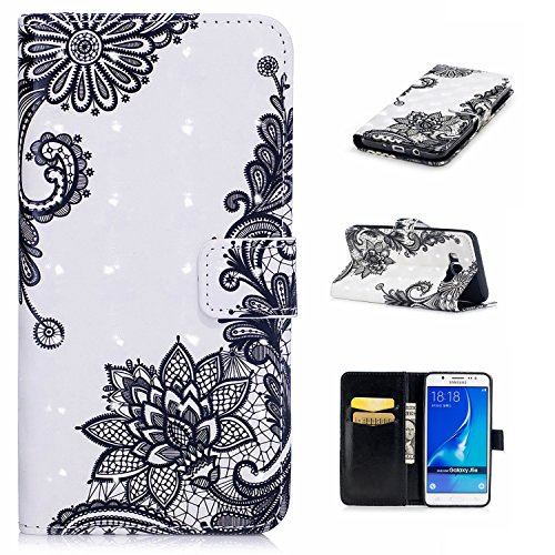 Custodia Galaxy J5 2016, Anlike 3d Paint Swallow Protettiva Accessori Per Cellulari Custodia In Pelle Per Samsung Galaxy J5 2016 / Sm-j510 (5,2 Pollici) Fiore Nero