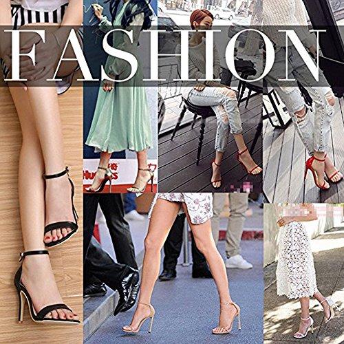 Damenschuhe Open Toe Mehrfarbig Sandalen High-Heels Stiletto Riemchen Lack Pink