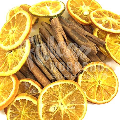 Duftende Zimtstangen, 8 cm, und getrocknete Orangenscheiben, hervorragende Qualität, für Weihnachten zum Basteln, für Kränze und als Dekoration, orange