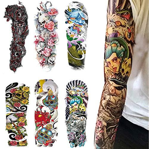 Adesivo tatuaggio temporaneo completo per braccio - 6 sheets grande tataggi temporanei, adesivi tatuaggio corpo temporanei per body art (1)