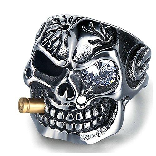 Aooaz Gioielli anelli da uomo anelli in acciaio Cranio anelli vintage anello pollice Dimensione italiana 25