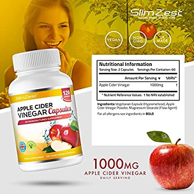 Apple Cider Vinegar - 120 Capsules - 1000mg Daily Dosage - Premium Quality Supplement - 60 Days Supply - UK Made - Vegetarian & Vegan Suitable - Optimum Strength For Maximum Results - Apple Cider Vinegar Capsules For Men & Women - Odourless and Tasteless