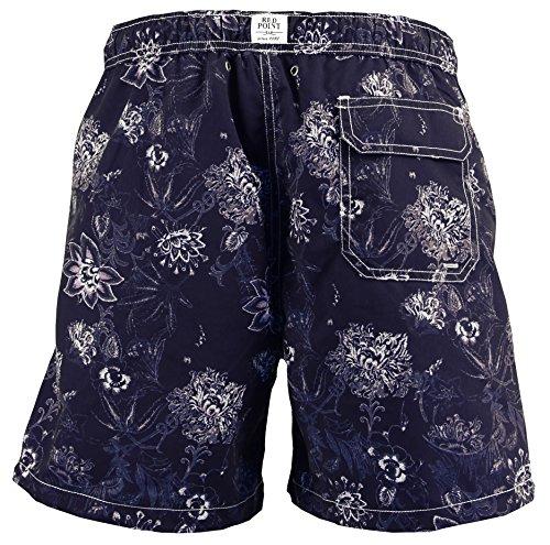 Red Point Beachwear, Homme, Short de bain, Max, Imprimé fleurs Bleu Marine