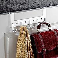 Fittoway Aluminum 5-Hook Over The Door Wall Hook Heart Hollow Coat Hook Rack for Bathroom Bedroom
