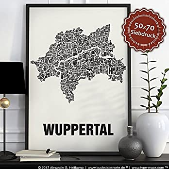 Wuppertal Buchstabenort Schwarz auf Naturweiß