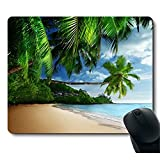 Sunshine Beach Coast Tropical Paradise Palm Tree Mouse Pad