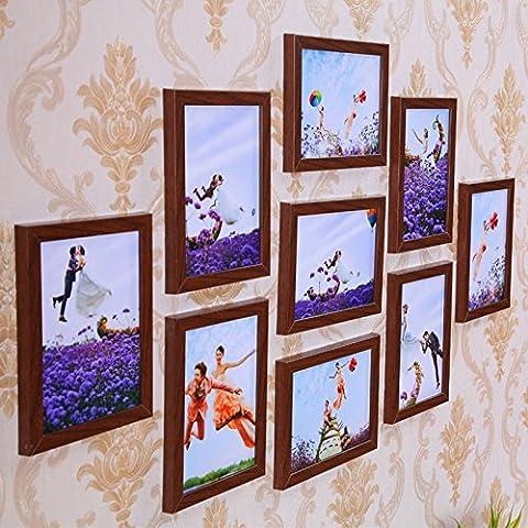 Mur De Photos Avec Cadre Bois Multi Frame Bleu Et Blanc De Style Méditerranéen Plat Mural Ornement Créatif,Tous Les 7 Pouces Teak