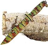 Nerd Clear Jagd-Messer Camouflage Tanto Klinge Camping-Messer Gürtel-Messer Angler-Messer Outdoor und Survival inkl. Gürtelholster 34,5 cm