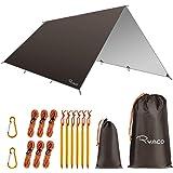 RYACO regnskydd för hängmatta, tält etc., presenning 3 m x 3 m, bärbart solskydd, lätt vattentätt och vindtätt markskydd för
