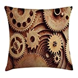 Not afraid Industrial Throw Pillow Cushion Cover by, Inside The Clocks Theme Gears Mechanical Device Image in Steampunk Style Print, Decorative Square Accent Pillow Case, 18 X 18 inches, Cinnamon