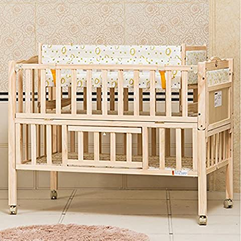 TYJ Cots Crib Multifunction Children's Bed Solid Wood Environmental Protection Simple Fashion Tasteless No Paint Safety Baby Bed With Roller And Mosquito Net